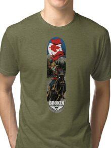 Skeleton Mountie Skateboard Tri-blend T-Shirt