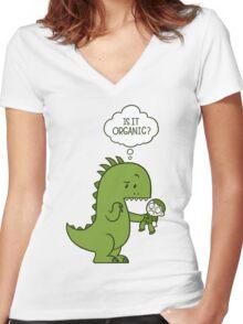 Organic Dinosaur Women's Fitted V-Neck T-Shirt