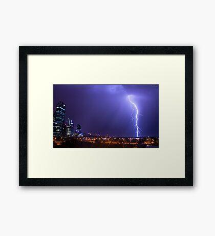 Perth Lightning Framed Print