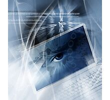 Technology background with computer Photographic Print