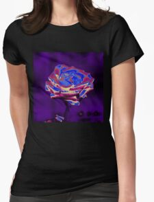 Blue and Purple Rose Womens Fitted T-Shirt