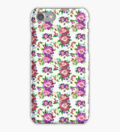 Cute vintage pink purple burgundy floral pattern  iPhone Case/Skin