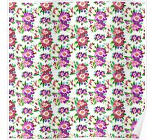 Cute vintage pink purple burgundy floral pattern  Poster