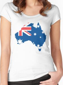 Australia Flag and Map Women's Fitted Scoop T-Shirt