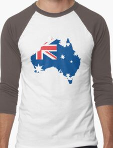 Australia Flag and Map Men's Baseball ¾ T-Shirt