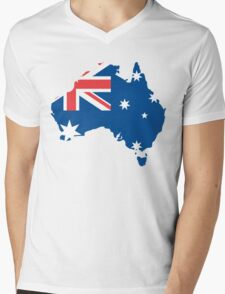 Australia Flag and Map Mens V-Neck T-Shirt