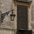 old shutters and street lamp, Rome by BronReid