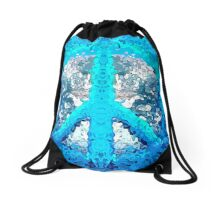 Abstract Blue Peace Sign Drawstring Bag