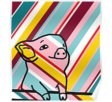 Cute Pig on Stripes Poster