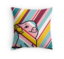 Cute Pig on Stripes Throw Pillow