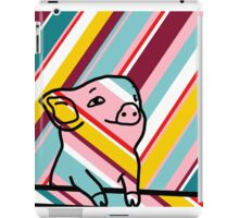 Cute Pig on Stripes iPad Case/Skin