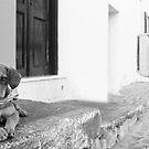 Dog with scarf, Santorini by daniwillis