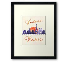Paris City Landscape Watercolor Art - J'adore Paris Framed Print