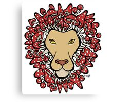 Lion with Man Made of Mushrooms (red version) Canvas Print