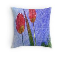 tulip flower drawing Throw Pillow