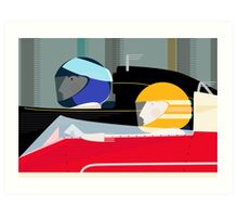 Retro Racing Car Drivers Art Print