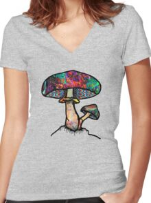 Papa Shroom  Women's Fitted V-Neck T-Shirt