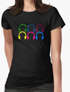 Colorful Headphones Womens Fitted T-Shirt