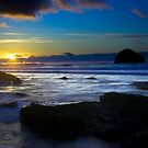 Trebarwith blue sunset by David Wilkins
