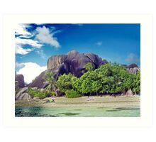Rocks on island La Digue Art Print