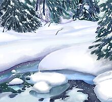 Frozen Stream on Christmas Eve for Momma by Joan A Hamilton