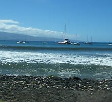 Lahaina's view of the sailing ships anchored at the waterfront..... by DonnaMoore