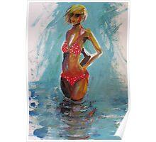 Turquoise skies and red bikini Poster