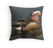 Male Mandarin Duck in full breeding plumage Throw Pillow