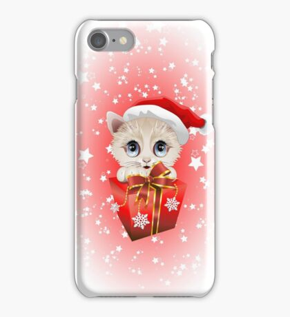 Kitten Christmas Santa with Big Red Gift iPhone Case/Skin