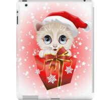 Kitten Christmas Santa with Big Red Gift iPad Case/Skin