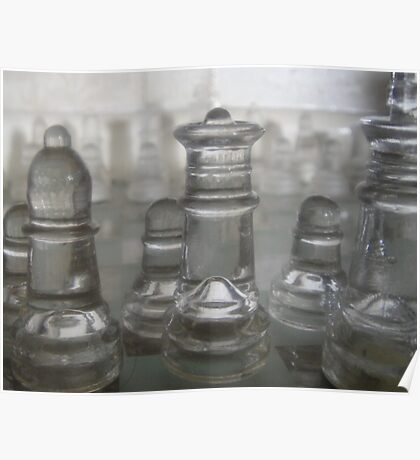 Transparent Moves Glass chess pieces Poster