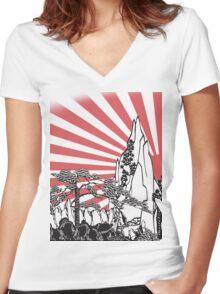 Japanese Landscape T Women's Fitted V-Neck T-Shirt