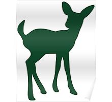 Baby Fawn, Deer Silhouette Poster