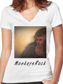 Monkeys Rock Women's Fitted V-Neck T-Shirt