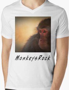 Monkeys Rock Mens V-Neck T-Shirt