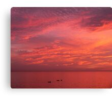 Fishing Under a Red Sky (Morocco) Canvas Print