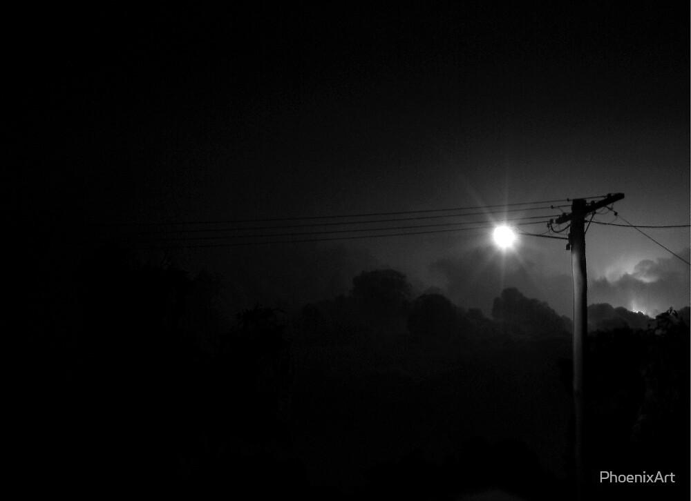 Streetlight and Lightning by PhoenixArt