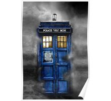 Haunted blue phone booth Poster