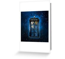 Space And Time traveller Box With yellow stained glass Greeting Card