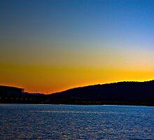 Blue/Orange Sunset-Lake Burley Griffin Canberra by Stephanie Jensen