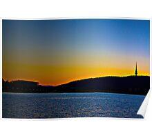 Blue/Orange Sunset-Lake Burley Griffin Canberra Poster