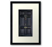 Black Door with 221b number Framed Print