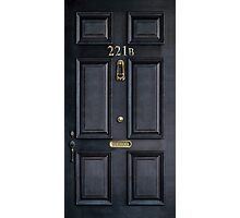 Black Door with 221b number Photographic Print