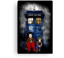 Charlie Chaplin with the kid waiting an Angel Canvas Print