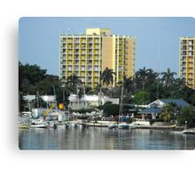 Boat's and Hotels Canvas Print
