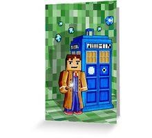 8bit blue phone box with space and time traveller Greeting Card