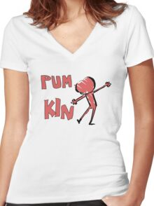 PUM KIN Women's Fitted V-Neck T-Shirt