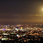 Moonrise over the Brisbane city by DarvidArt