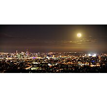 Moonrise over the Brisbane city Photographic Print