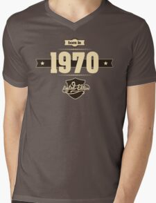 Born in 1970 (Cream&Choco) Mens V-Neck T-Shirt